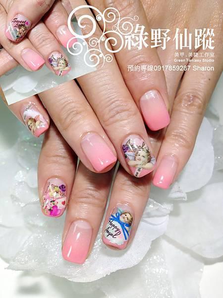 【光療指甲】201206Polina Ho的珊瑚色漸層+小天使寫真夾心光療指甲