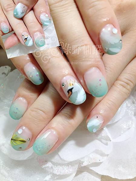 【光療指甲】湖水綠漸層光療指甲