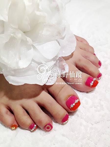【光療指甲】雙色民俗風足部光療指甲