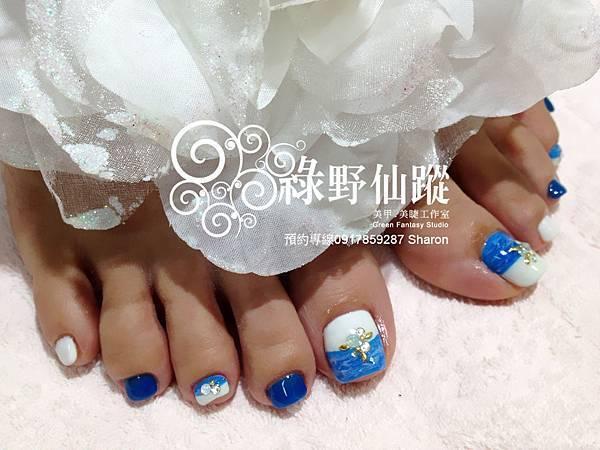 【足部光療指甲】深藍海洋風情