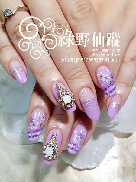 【光療指甲】karen的和風櫻花光療指甲