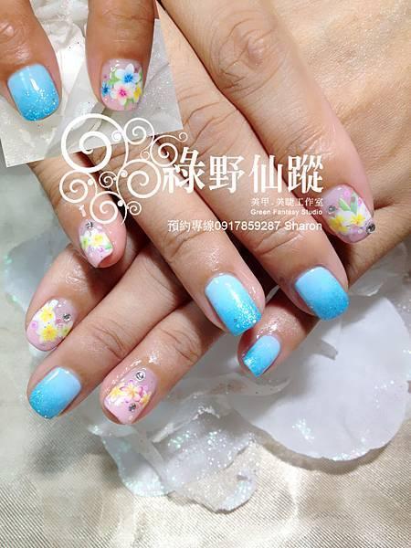 【光療指甲】捲捲的夏日海洋