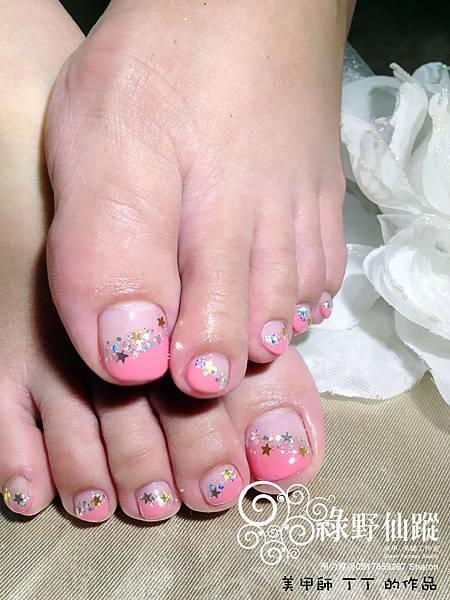 【足部光療指甲】KT櫻桃紅的斜法式變化款