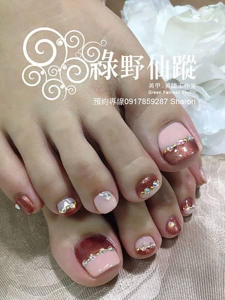 【足部光療指甲】秋冬款雙色拼接光療
