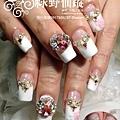【光療指甲】超華麗新娘美甲滿滿排鑽加兩指玫瑰粉雕