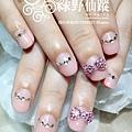 【光療指甲】新娘美甲反法式搭配立體蝴蝶結鑽飾
