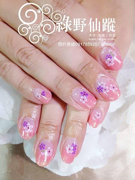 【光療指甲】櫻花紛飛的漸層光療美甲
