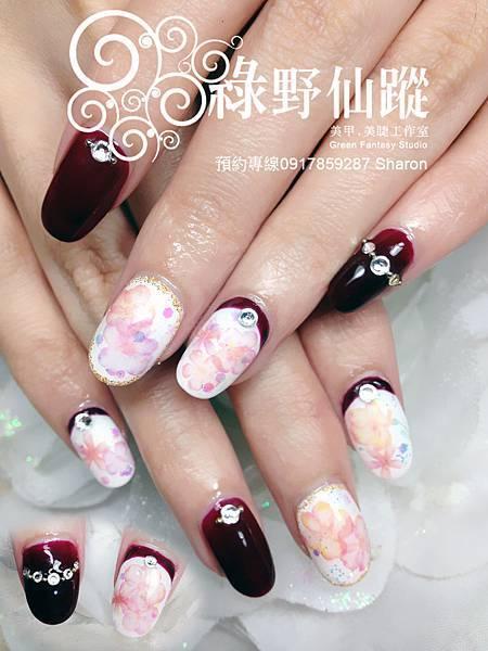 【光療指甲】柔美貴氣水彩櫻花款光療美甲