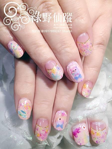 【光療指甲】春季新款水彩貼飾光療美甲
