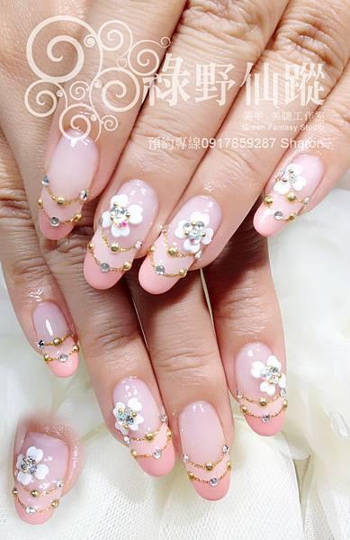 【光療指甲】訂結婚款雙法式加雕花光療美甲