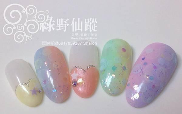 【光療指甲】雙色漸層搭配水彩泡泡超夢幻組合光療美甲