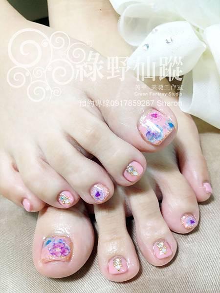 【足部光療指甲】粉嫩三色堇足部光療美甲