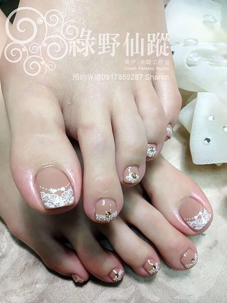 【足部光療指甲新娘款裸色氣質款光療美甲