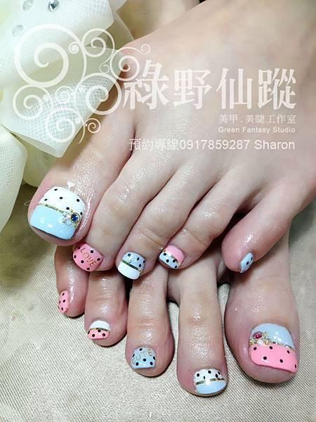 【足部光療指甲】可愛雙色拼接光療美甲