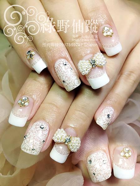 【光療指甲】簍空蕾絲華麗款新娘光療美甲.jpg
