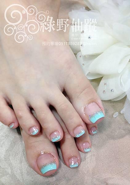 【足部光療指甲】清新優雅的平行法式光療美甲