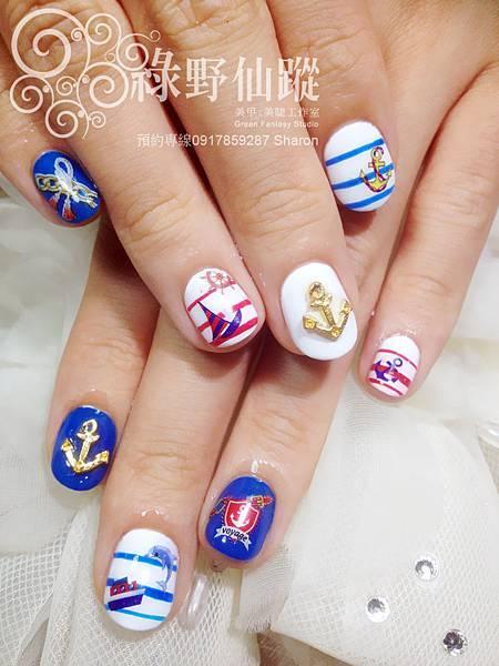 【光療指甲】海軍風格光療美甲