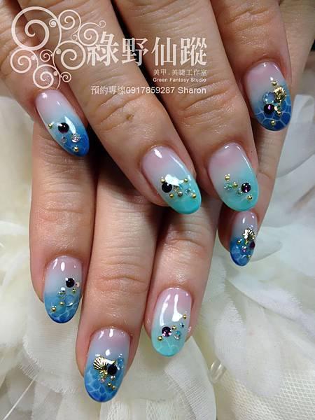 【光療指甲】跳色漸層加海洋泡泡光療美甲