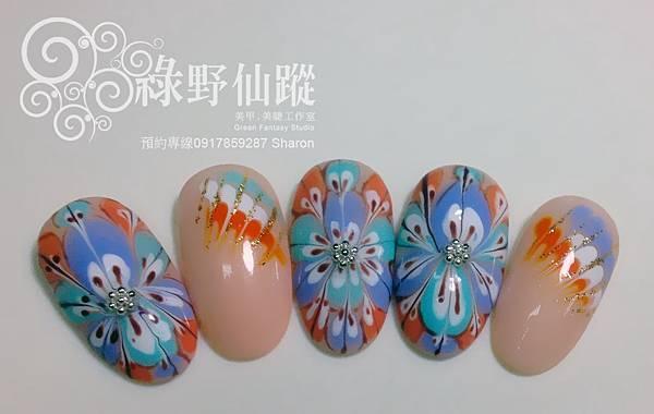 【光療指甲】新技法孔雀拉紋光療美甲