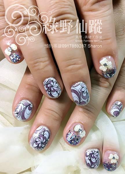 【光療指甲】水波紋拉花紋光療美甲