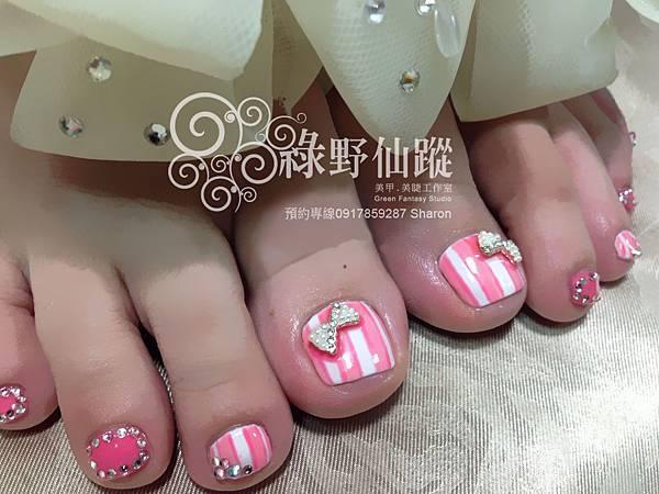 【足部光療指甲】可愛糖果條紋款光療美甲
