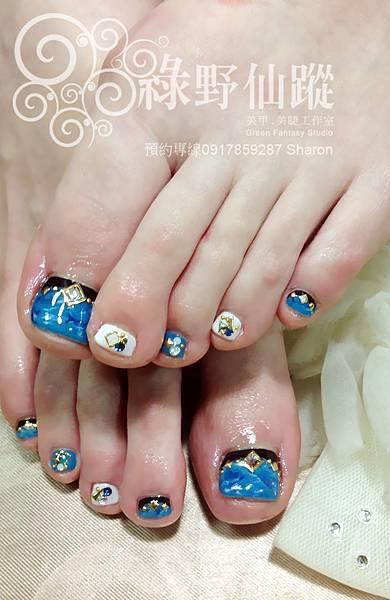 【足部光療指甲】大理石暈染光療指甲