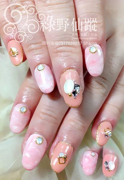【光療指甲】新'娘款大理石紋光療指甲