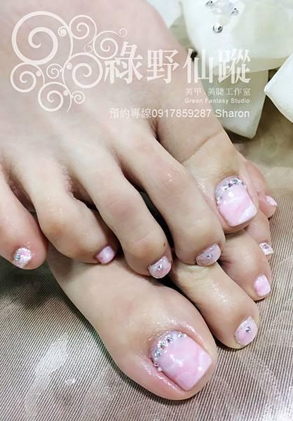 【足部光療指甲】粉紅色大理石暈染光療指甲