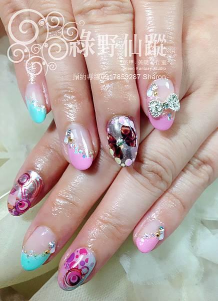 【光療指甲】甜美混搭金屬個性光療指甲