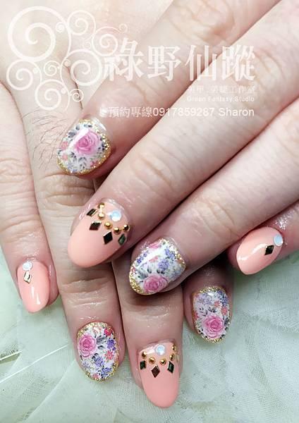 【光療指甲】2014年春夏碎花光療指甲
