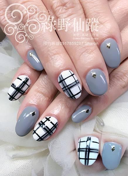 【光療指甲】個性格紋光療指甲