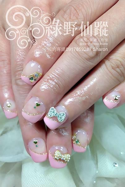 【光療指甲】新娘款甜美斜法式光療指甲