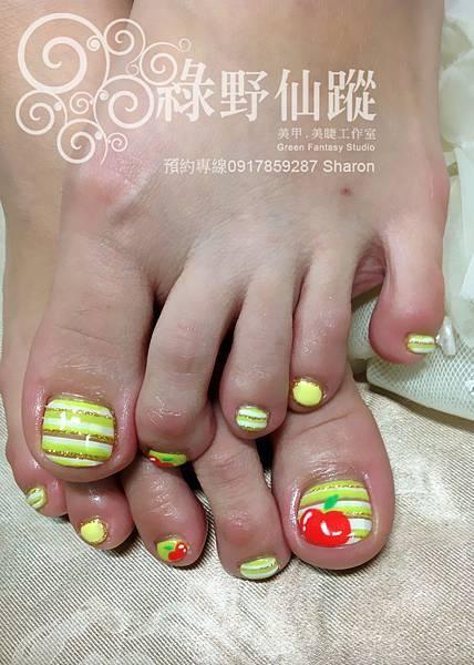 【足部光療指甲】青蘋果夏天款光療指甲
