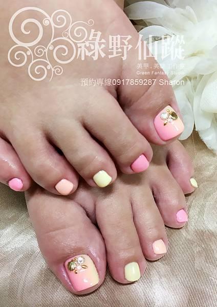 【足部光療指甲】夏日棉花糖光療指甲