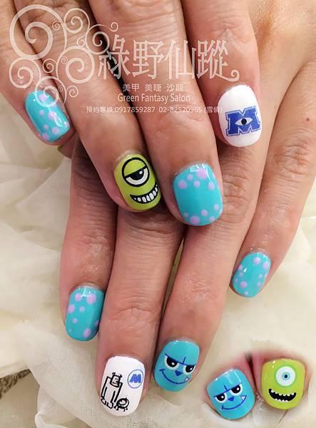 【光療指甲】怪獸電力公司設計款光療指甲