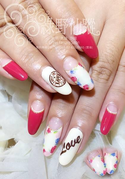 【光療指甲】手繪小碎花設計款光療指甲
