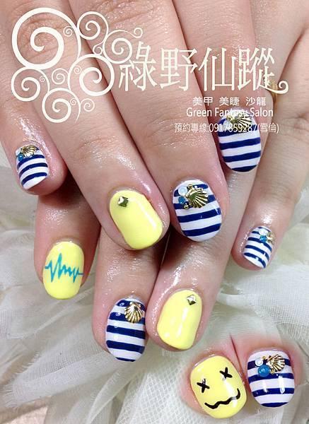 【光療指甲】可愛海軍風光療指甲