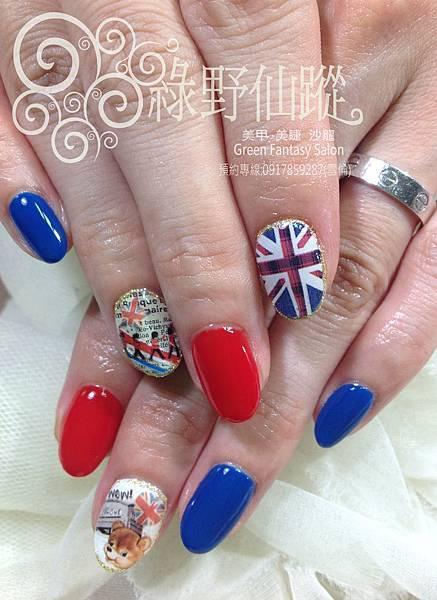 【光療指甲】英國風可愛款光療指甲