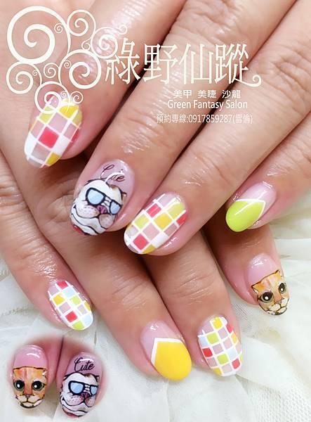 【光療指甲】全手繪可愛款喵喵與法鬥光療指甲