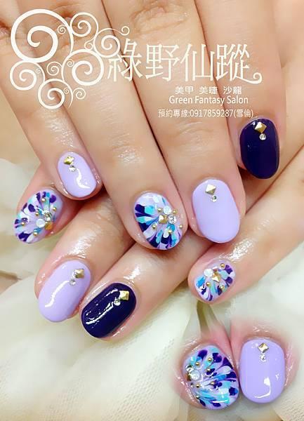【光療指甲】深藍特價指定設計拉花款光療指甲