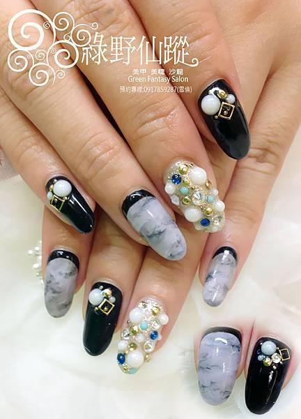 【光療指甲】大理石紋鑽石設計款光療指甲