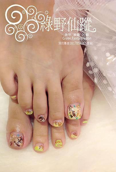 【光療指甲】奇奇蒂蒂設計款足部光療指甲