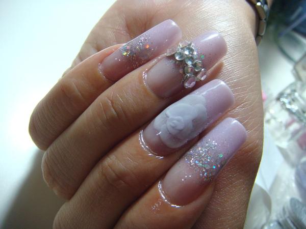 【水晶指甲】璀璨水晶+粉雕夾心