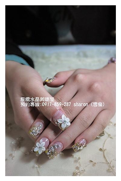 金色璀璨水晶指甲+粉雕02