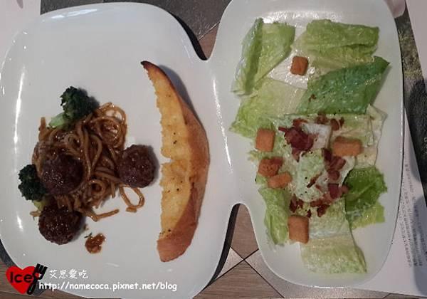 商業午餐-番茄牛肉丸子義大利麵 (附麵包、沙拉)