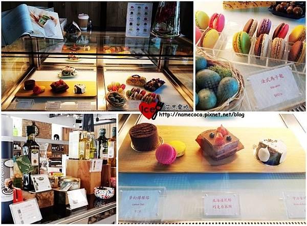 櫃台旁的銷售區與甜點櫃