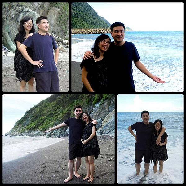 海邊和老公合照