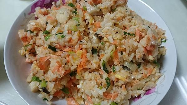 鮭魚杏鮑菇炒飯