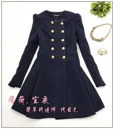秋冬新款韓版 複古修身雙排扣毛呢大衣公主袖呢子外套 女款.jpg