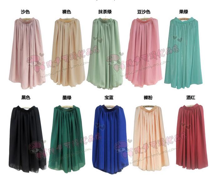 2012夏 歐版雙層雪紡百褶大擺半身長裙 楊姍姍同款 新品包郵-淘寶網-220935
